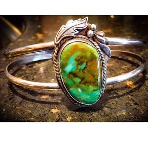 SOLD Native Sterling Turquoise cuff bracelet